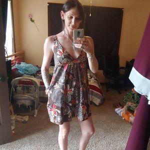 Old Navy v neck brown floral mini dress